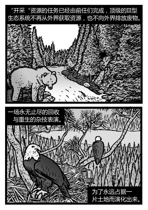 """熊在山间溪流边的卡通。白头鹰的巢。""""开采""""资源的任务已经由前任们完成,顶级的III型生态系统不再从外界获取资源,也不向外界排放废物。一场永无止尽的回收与重生的杂技表演。为了永远占据一片土地而演化出来。"""