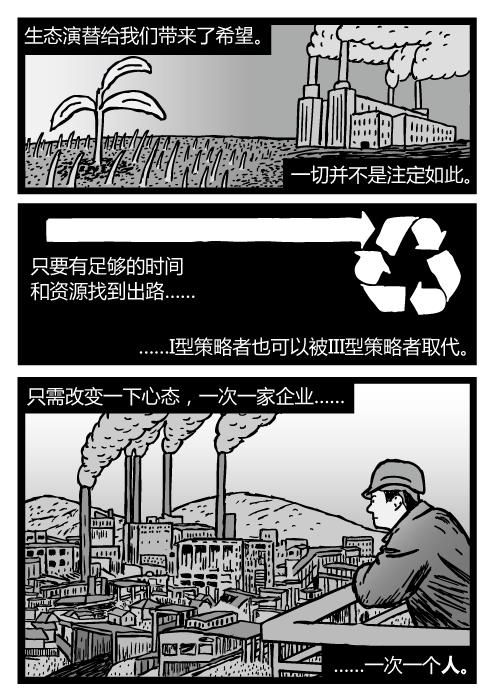 人看着工厂的场景。煤电站的卡通。生态演替给我们带来了希望。一切并不是注定如此。只要有足够的时间和资源找到出路……I型策略者也可以被III型策略者取代。只需改变一下心态,一次一家企业……一次一个人。