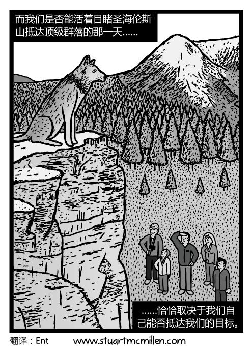 狼在峭壁顶部的卡通。一家人仰望狼的图景。而我们是否能活着目睹圣海伦斯山抵达顶级群落的那一天……恰恰取决于我们自己能否抵达我们的目标。