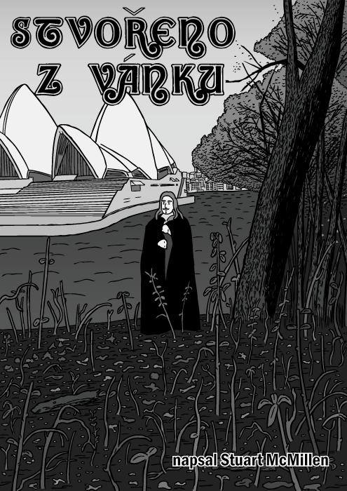 Obálka komiksu Stvořeno zvánku. Album Black Sabbath komiks. Sydney Opera house kresba.