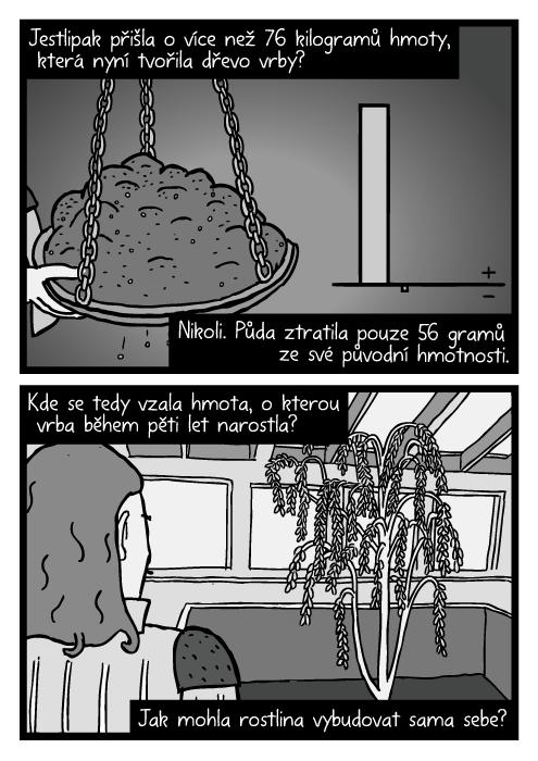 Půda na rovnoramenných vahách komiks kresba. Jestlipak přišla o více než 76 kilogramů hmoty, která nyní tvořila dřevo vrby? Nikoli. Půda ztratila pouze 56 gramů ze své původní hmotnosti. Kde se tedy vzala hmota, o kterou vrba během pěti let narostla? Jak mohla rostlina vybudovat sama sebe?