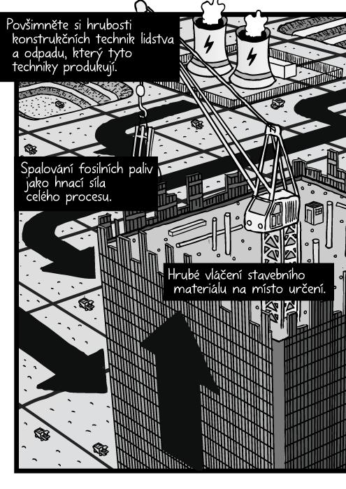 Nadhled mrakodrap stavba komiks. Pohled zptačí perspektivy věž jeřáb kresba. Těžba krajina mřížka. Povšimněte si hrubosti konstrukčních technik lidstva a odpadu, který tyto techniky produkují. Spalování fosilních paliv jako hnací síla celého procesu. Hrubé vláčení stavebního materiálu na místo určení.