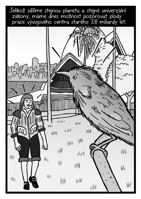 Pták ve větvi stromu poblíž Sydney Opera House komiks. Překvapený muž Sydney Harbour kresba. Jelikož sdílíme stejnou planetu a stejné univerzální zákony, máme dnes možnost pozorovat plody práce vývojového centra starého 3.8 miliardy let.
