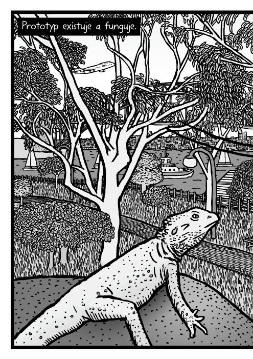 Sydney botanická zahrada eukalyptus kresba. Sydney Harbour Bridge vpozadí eukalyptu stromy komiks. Prototyp existuje a funguje.