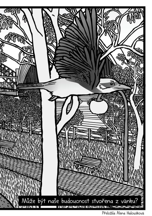 Sydney botanická zahrada eukalyptus kresba. Sydney Opera House vpozadí eukalyptu stromy komiks. Může být naše budoucnost stvořena z vánku?