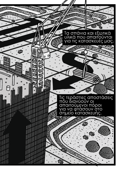 High angle skyscraper construction cartoon. Bird's-eye office tower cranes drawing. Open cut mines landscape grid. Σκίτσο από ψηλά κατασκευή ουρανοξύστη, γερανοί σε κατασκευές κτιρίων γραφείων, έδαφος με εγκαταστάσεις ανοιχτών ορυχείων. Τα σπάνια και εξωτικά υλικά που απαιτούνται για τις κατασκευές μας. Τις τεράστιες αποστάσεις που διανύουν οι απαιτούμενοι πόροι για να φτάσουν στο σημείο κατασκευής.