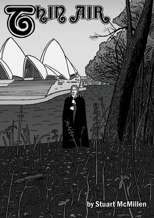 Thin Air comic cover. Black Sabbath album cartoon. Sydney Opera house drawing.