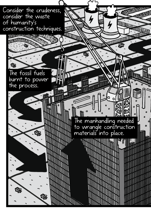 High angle skyscraper construction cartoon. Bird's-eye office tower cranes drawing. Open cut mines landscape grid. Consider the crudeness, consider the waste of humanity's construction techniques. The fossil fuels burnt to power the process. The manhandling needed to wrangle construction materials into place.