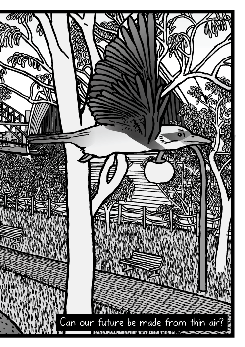 Sydney Botanical Gardens gum tree parkland drawing. Sydney Harbour Bridge and Sydney Opera House behind eucalyptus trees cartoon. Can our future be made from thin air?