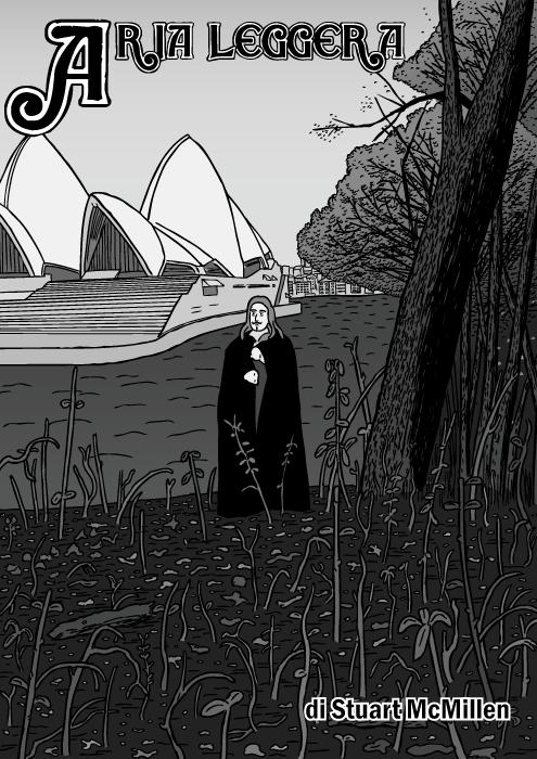 Copertina del fumetto Aria Leggera. Disegno del album dei Black Sabbath. Vignetta del Teatro dell' Opera di Sydney.