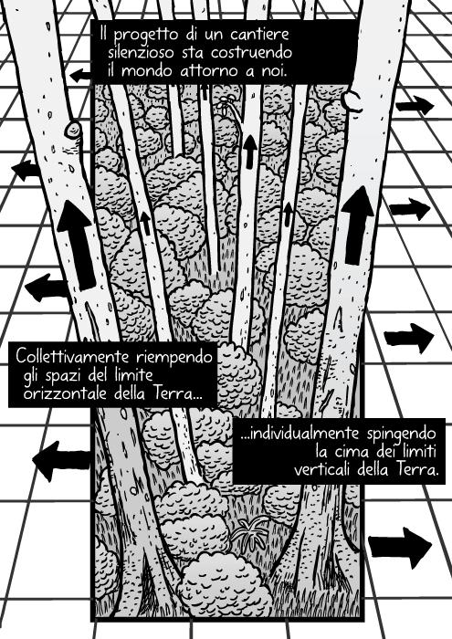 Vignetta di foresta e griglia. Disegno di alberi e frecce. Il progetto di un cantiere silenzioso sta costruendo il mondo attorno a noi. Collettivamente riempendo gli spazi del limite orizzontale della Terra individualmente spingendo la cima dei limiti verticali della Terra.