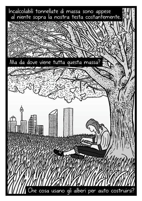 Disegno di un uomo che legge sotto un albero. Vignetta di campo erboso. Incalcolabili tonnellate di massa sono appese al niente sopra la nostra testa costantemente. Ma da dove viene tutta questa massa? Che cosa usano gli alberi per auto costruirsi?
