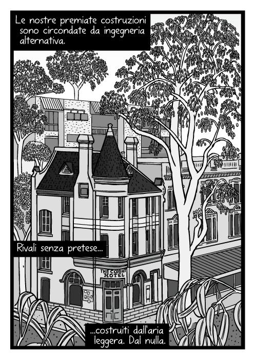 Vignetta di alberi di città vicino ad edifici. Disegno di alberghi circondati di alberi. Le nostre premiate costruzioni sono circondate da ingegneria alternativa. Rivali senza pretese costruiti dall'aria leggera. Dal nulla.