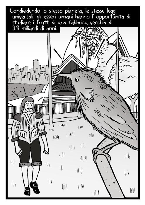 Disegno di uccello che vola via vicino al teatro dell'opera. Vignetta di uomo che pensa a un aereo jumbo jet. La natura ci avvisa di cosa e' possibile. Di cosa funziona. Dandoci l'ispirazione per provare a far le cose da soli.