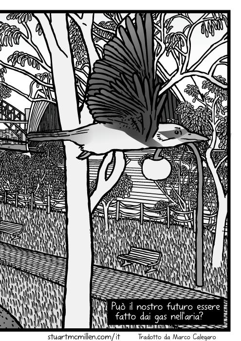 Disegno del Giardino Botanico di Sydney con albero della gomma. Vignetta del Ponte del Porto di Sydney e del Teatro dell'Opera dietro alberi di eucalipto. Può il nostro futuro essere fatto dai gas nell'aria?