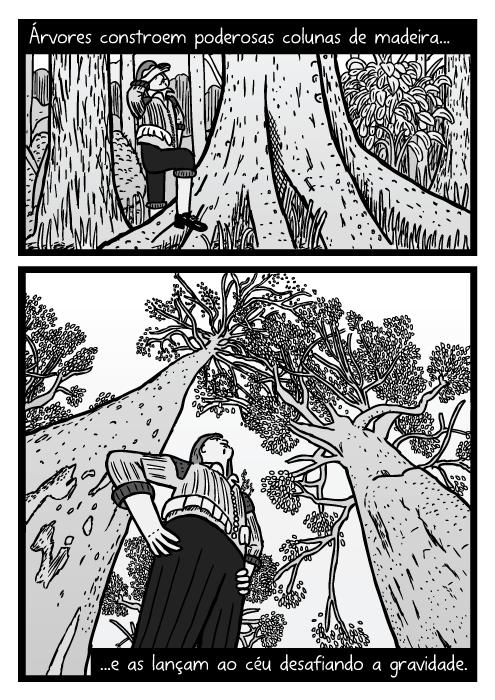 Desenho de visão inferior de homem embaixo da árvore. Cartum troncos de árvores. Árvores constroem poderosas colunas de madeira...e as lançam ao céu desafiando a gravidade.