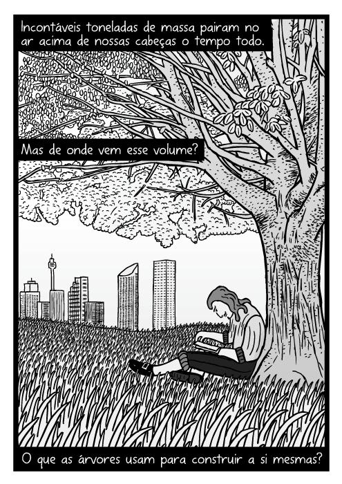 Cartum homen lendo livro embaixo de árvore. Desenho campo gramado. Incontáveis toneladas de massa pairam no ar acima de nossas cabeças o tempo todo. Mas de onde vem esse volume? O que as árvores usam para construir a si mesmas?