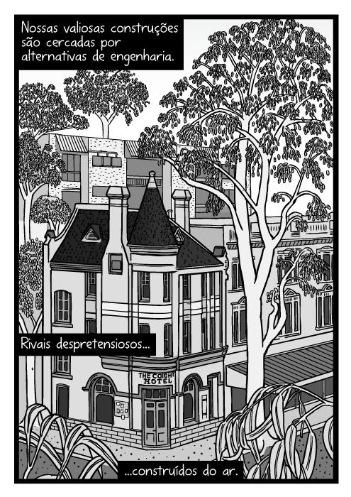 Cartum árvore urbana ao lado de edifício. Desenho hotel cercado por árvores. Nossas valiosas construções são cercadas por alternativas de engenharia. Rivais despretensiosos...construídos do ar.
