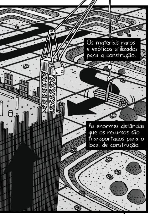 Cartum construção arranha-céu ângulo alto. Desenho visão panorâmica guindastes torre de escritórios. Minas a céu aberto numa paisagem em grades. Os materiais raros e exóticos utilizados para a construção. As enormes distâncias que os recursos são transportados para o local de construção.