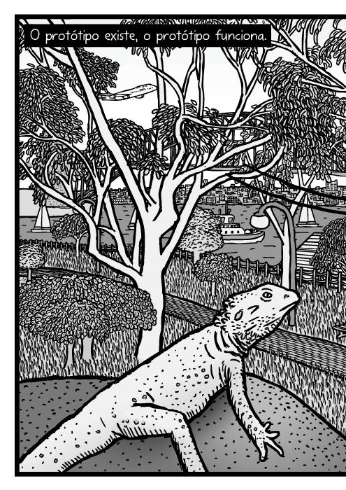 Desenho parque de Eucaliptos no Jardim Botânico de Sydney. Cartum ponte na baía de Sydney e Sydney Opera House atrás de árvores de Eucalipto. O protótipo existe, o protótipo funciona.