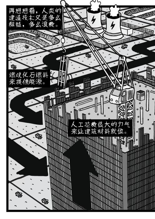 俯视角的摩天大楼建筑。俯视角的办公楼和塔吊。再想想看,人类的建造技术又是多么粗糙,多么浪费。 燃烧化石燃料来提供能源。 人工花费很大的力气来让建筑材料就位。