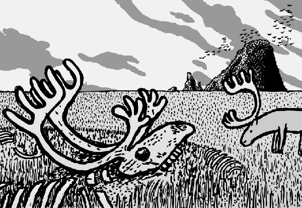 Cartoon reindeer skull cartoon. St Matthew Island by Stuart McMillen.