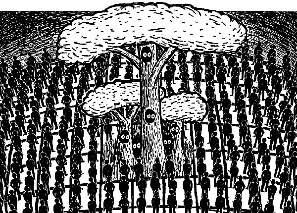 Cartoon trees surrounded by grid of people. Deforestation logging drawing.