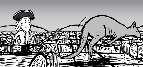 Man looks at wallaby hopping over deforested land. Cartoon kangaroo jumping.