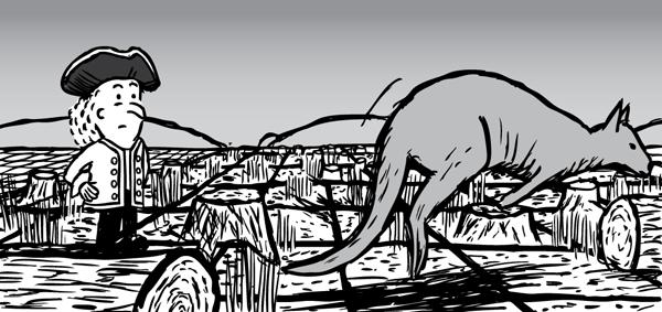 Man looks at wallaby hopping over deforested land. Cartoon kangaroo jumping.