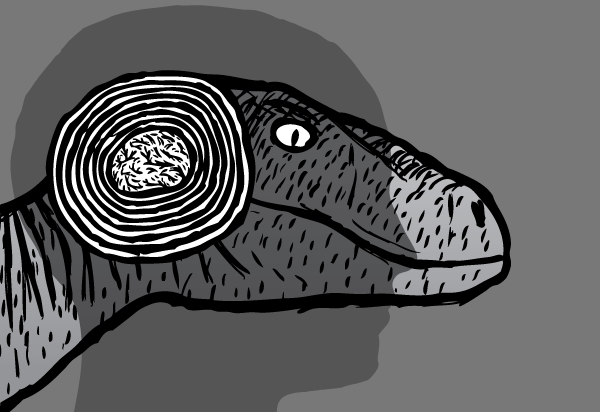 Raptor cartoon. Reptile brain drawing. Velociraptor. Human silhouette.