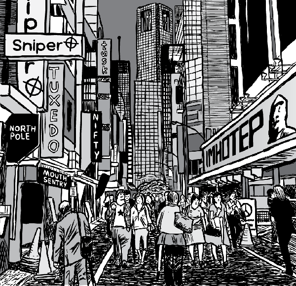 Detailed city drawing. Black and white cartoon skyscrapers. Advertising signage.