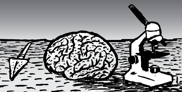 Cartoon brain with spear and microscope. Black and white drawing line art.