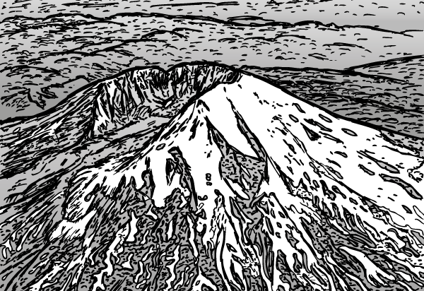 Cartoon Mount St. Helens. Aerial drawing of snow-covered volcano.