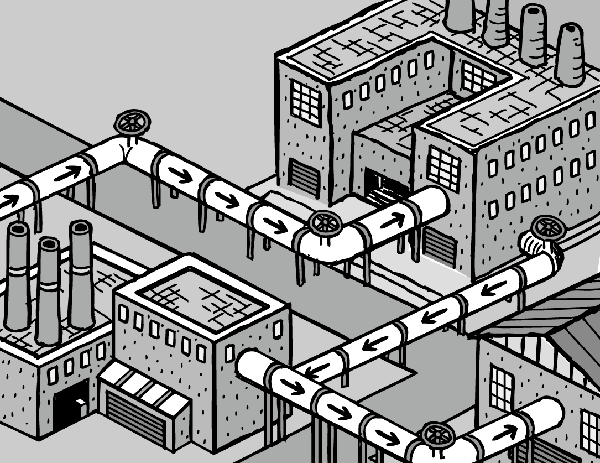 Isometric factory pipes drawing. Cartoon industrial park. Recycling comic.