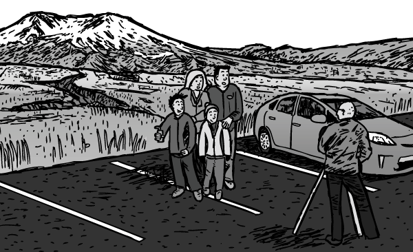 Family photograph pose in front of tripod. Cartoon photographer focusing. Drawing of Mount St. Helens carpark.