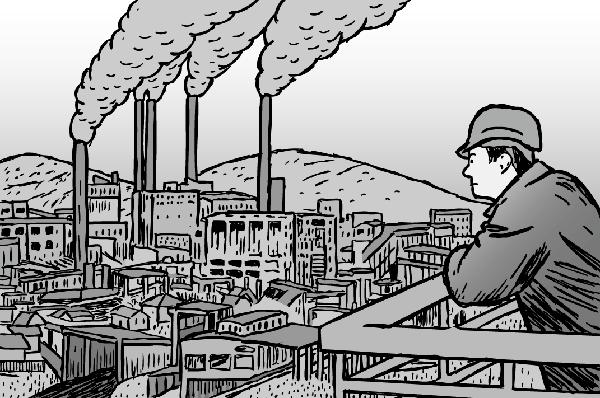 Cartooon man looking at factory. Black and white drawing of smokestacks. Hard hat.