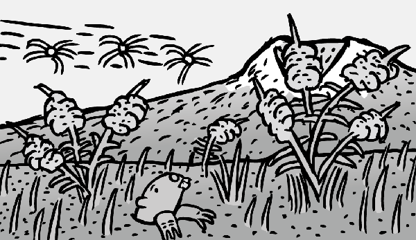 Cartoon gopher pokes head above ground near mountain. Black and white drawing of ecosystem recovery.