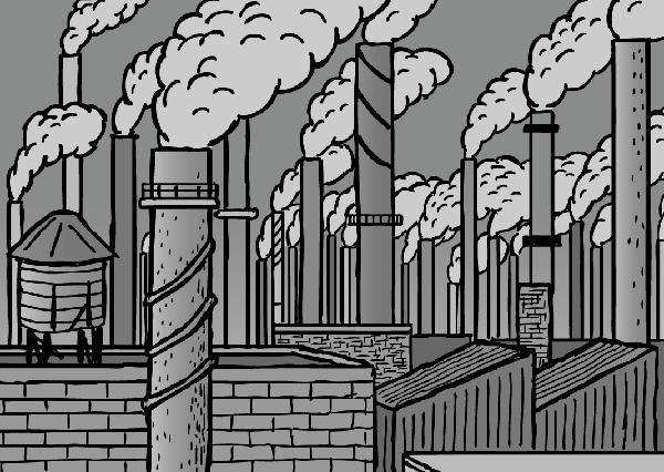 Cartoon smokestacks. Black and white drawing of factory chimneys.