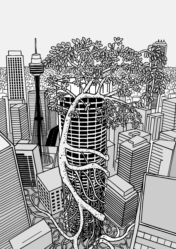 Cartoon strangler fig wraps around building. Skyscraper wrapped in tree roots drawing. Comic art cover.