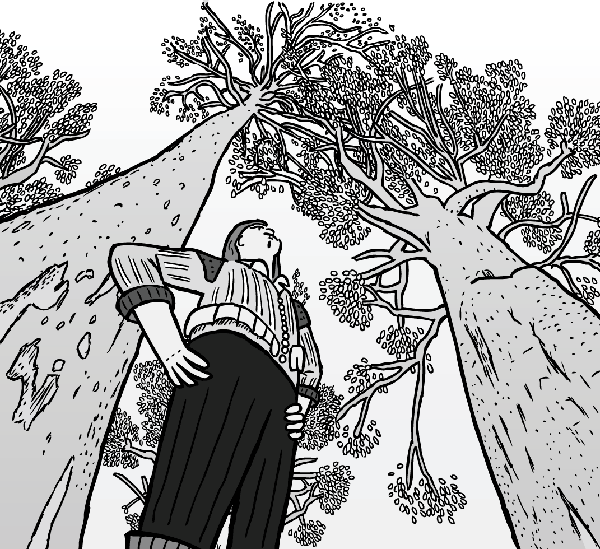 Low angle cartoon man standing above viewer. Looking up towards tree tops.