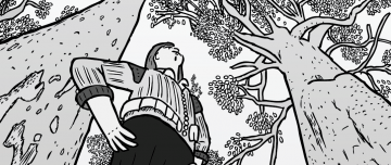Dramatic low angle drawing of man standing under tall gum trees