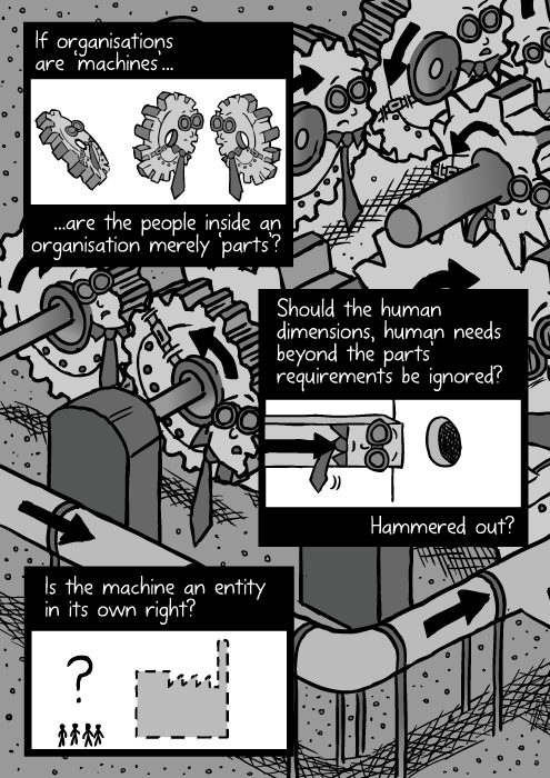 Organisation machine drawing. Employees as cogs in the machine. Black and white comic art. If organisations are 'machines', are the people inside an organisation merely 'parts'? Should the human dimensions, human needs beyond the parts' requirements be ignored? Hammered out? Is the machine an entity in its own right?