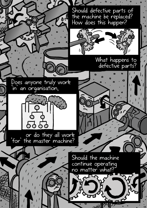 Organization machine cartoon. Workers as cogs and gears in the machine. Black and white drawing assembly line. Should defective parts of the machine be replaced? How does this happen? What happens to defective parts? Does anyone truly work 'in' an organisation, or do they all work 'for' the master machine? Should the machine continue operating no matter what?