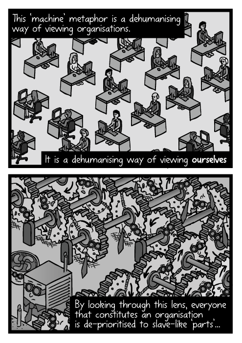 Isometric drawing office workers desks. Employees as cogs in the machine cartoon. This 'machine' metaphor is a dehumanising way of viewing organisations. It is a dehumanising way of viewing ourselves. By looking through this lens, everyone that constitutes an organisation is de-prioritised to slave-like 'parts'...