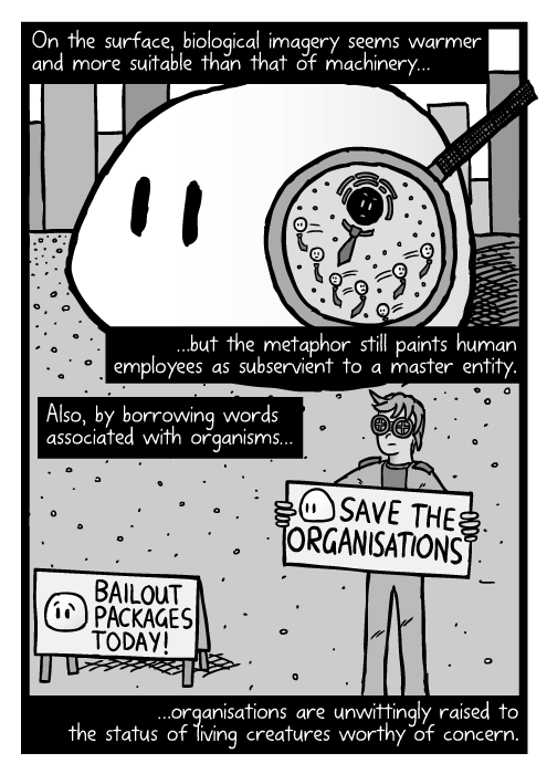 Save the organisations protester. Biology cell cross section magnifying glass cartoon. On the surface, biological imagery seems warmer and more suitable than that of machinery… …but the metaphor still paints human employees as subservient to a master entity. Also, by borrowing words associated with organisms… …organisations are unwittingly raised to the status of living creatures worthy of concern.