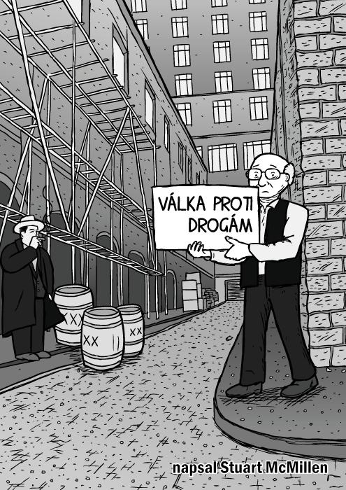 Obálka komiksu Válka proti drogám. Muž vuličce drží nápis kresba. Bob Dylan ulička Subterranean Homesick Blues nápisy kartičky. Komiks Milton Friedman. Al Capone.