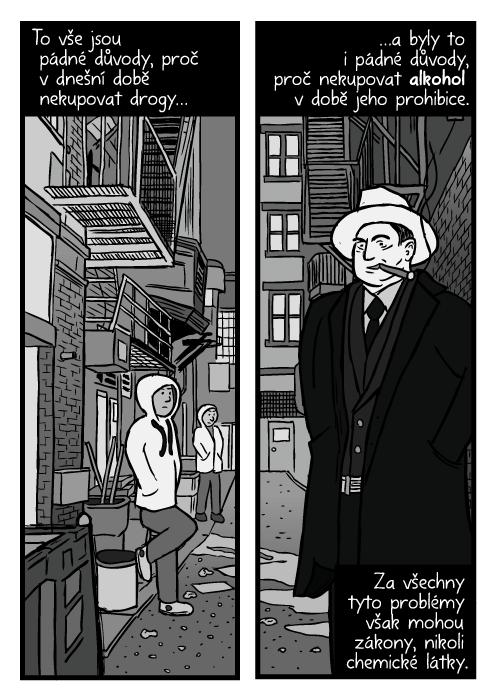 Drogoví dealeři ulička kresba. Komiks Al Capone kouří podhled. To vše jsou pádné důvody, proč vdnešní době nekupovat drogy…a byly to i pádné důvody, proč nekupovat alkohol v době jeho prohibice. Za všechny tyto problémy však mohou zákony, nikoli chemické látky.