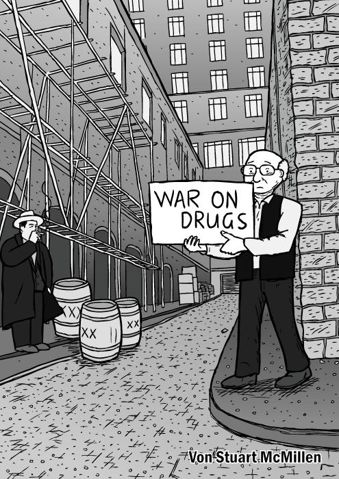 """Titelseite des """"War on Drugs"""" Comics. Ein Mann, der wie Milton Friedman aussieht, hält ein gemaltes Schild in einer Seitenstrasse. Es erinnert an das Video zum Subterranean Homesick Blues von Bob Dylan. Ein gezeichneter Al Capone ist links im Bild zu sehen."""