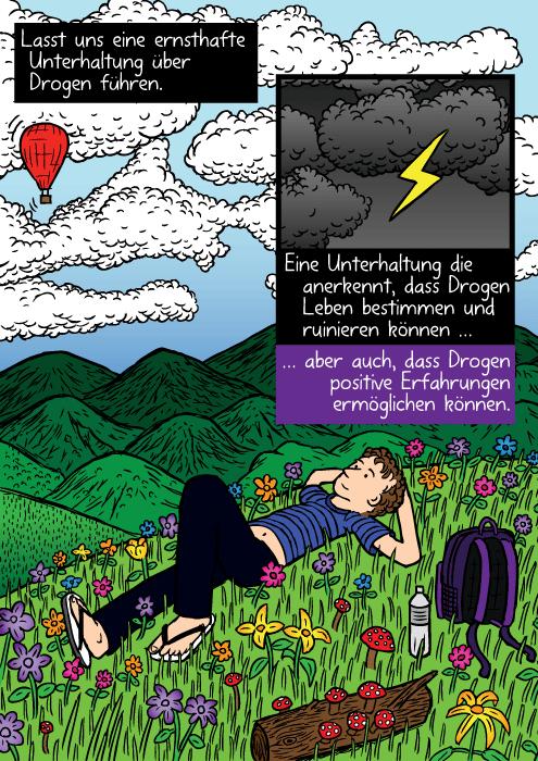 Eine farbenfrohe Blumenwiese. Ein Mensch liegt im Gras und schaut in die Wolken. Lasst uns eine ernsthafte Unterhaltung über Drogen führen. Eine Unterhaltung die anerkennt, dass Drogen Leben bestimmen und ruinieren können … aber auch, dass Drogen positive Erfahrungen ermöglichen können.