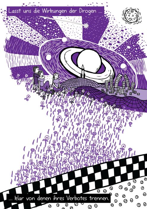 Ein violetter Drogenrausch. Freunde sitzen im Gras. Lasst uns die Wirkungen der Drogen … klar von denen ihres Verbotes trennen.